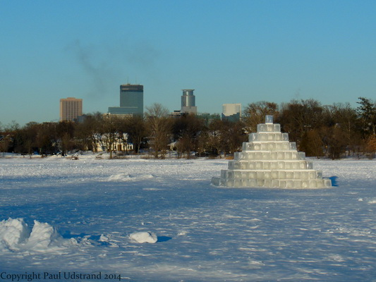 The ice Pyramid on Lake of the Isles with downtown Minneapolis in the background