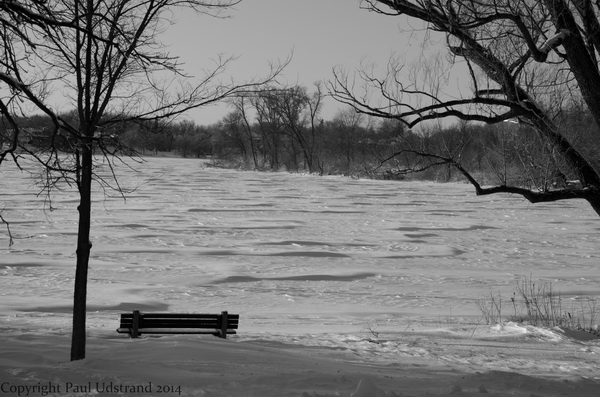The snow drifts on the lakes are like waves frozen in time