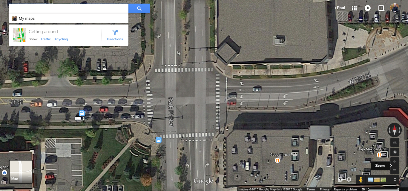 The intersection of W. 16th Street and Park Blvd in St. Louis Park Minnesota. Satellite Imagery ©2015 Google. Map data ©2015 Google