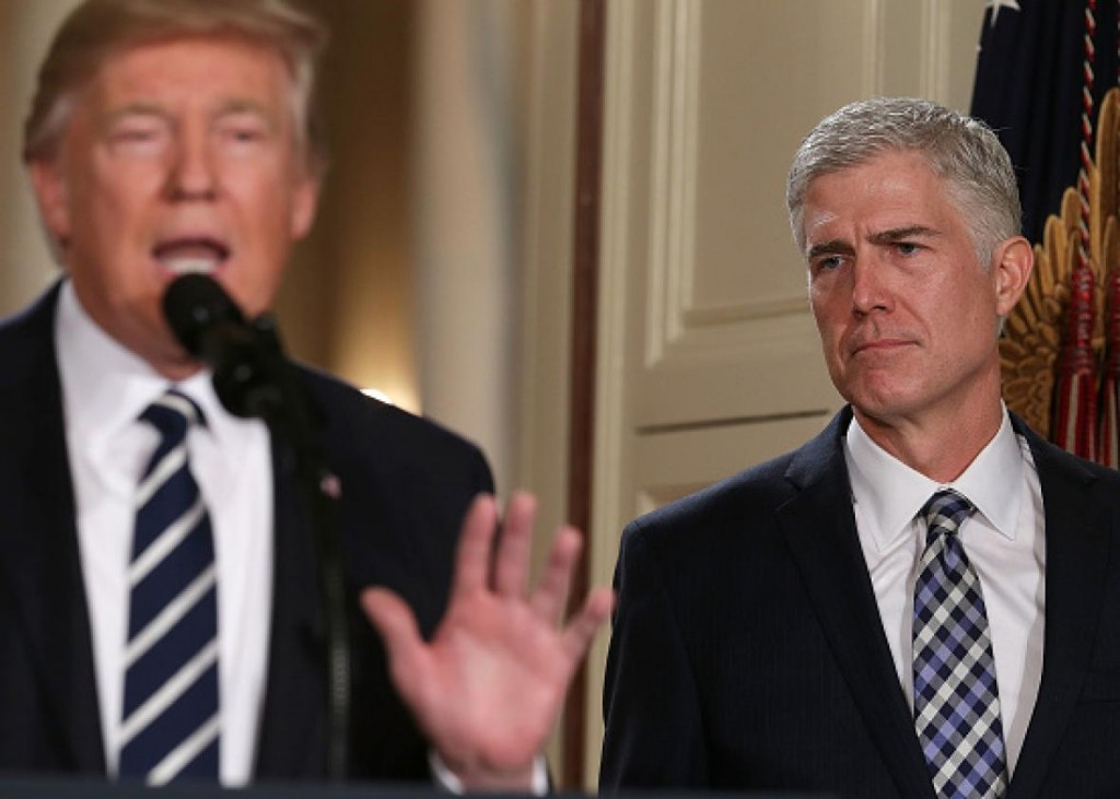 Donald Trump and Neil Gorsuch. Photo by Alex Wong for Getty Images 2017